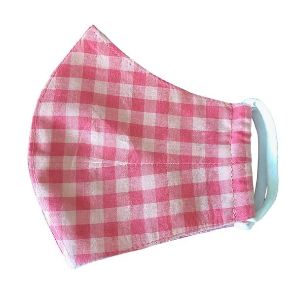 Pink Checks Kids Mask